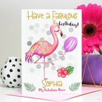 Personalised Flamingo Age Birthday Card