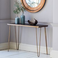 Gold Legged And Tiled Console Table