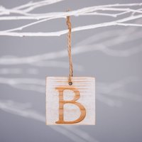 Personalised Wooden Letter Hanging Decoration, Pale Pink/Pink/Gold