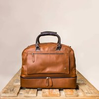 Personalised Leather Holdall With Shirt Compartment, Brown/Ebony/Black