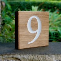 Personalised Oak Number Sign
