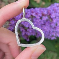 Sterling Silver Large Heart Outline Charm, Silver