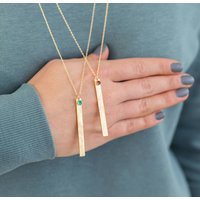 Long Length Birthstone Bar Necklace