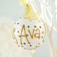 Personalised Hand Painted Christmas Bauble, White/Red/Green