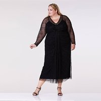 Plus Size Nell Long Sleeved Maxi Dress Black