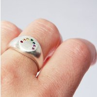 Rainbow Ring Handmade Silver And Gems, Silver