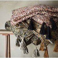 Floral Cotton Quilted Throw With Tassels