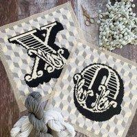 Cross Stitch Monochrome Letter Letterbox Craft Kit
