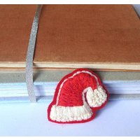 Santa Hat Hand Embroidered Brooch