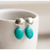 Shell Stud Earrings Silver With Turquoise Drop, Silver