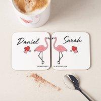 Personalised Couples Flamingo Coasters