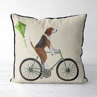 Beagle On Bicycle Decorative Cushion