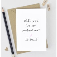 Personalised Will You Be My Godparent? Card, Pink/Blue/Yellow