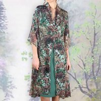 Dress Coat In Fioretta Print Silk Georgette