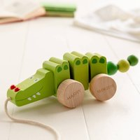Personalised Pull Along Wooden Crocodile