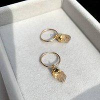Raw Natural Birthstone Hoop Earrings