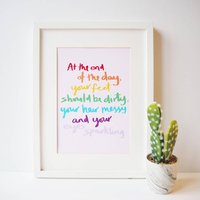 Rainbow Hand Lettered Typography Quote Print For Kids