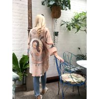 Illustrated Silk Kimono Jacket Mirage Print