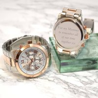 Personalised Mens Wrist Watch Rose Gold And Silver, Silver