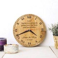 Personalised Oak Wood Clock