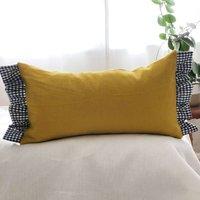 Yellow Linen And Gingham Frill Cushion Linen Pillow