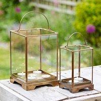 Handmade Antique Effect Brass Candle Lantern