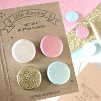 Set Of Four Glitter Badges, Any Four Colours