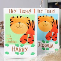 Personalised Hey Tiger! Any Occasion Card, Green/Turquoise Blue/Turquoise