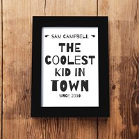 Personalised 'Coolest Kid In Town' Framed A5 Print, Black/White