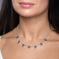 Tanzanite Gemstone Handmade Ladies Silver Necklace, Silver