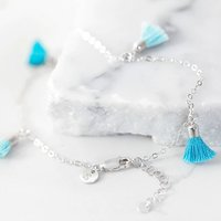 Personalised Silver Turquoise Tassel Anklet, Silver