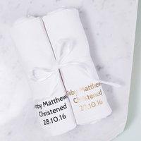 Personalised Baby Christening Muslin Keepsake Set, White/Blue/Pink
