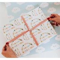 Personalised Rainbow Type Happy Birthday Wrapping Paper
