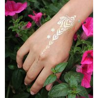 Temporary Metallic Flower Festival Tattoo