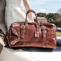 The Finest Italian Leather Holdall. The Flero Medium, Chestnut/Tan/Dark Chocolate