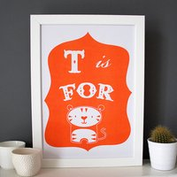 T Is For Tiger Alphabet Print