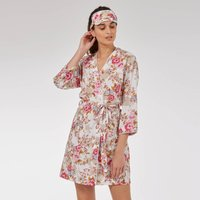 Short Cotton Robe In White Beautiful Rose Print