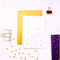 Let It Snow Polka Dot Gold Foil Christmas Card