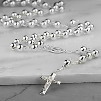 Sterling Silver Rosary Necklace, Silver