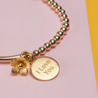 Personalised Yellow Gold Lobster Clasp Bracelet, Gold