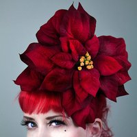 Large Velvet Christmas Poinsettia Fascinator