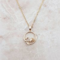 Circle Rose Pendant Necklace | Three Colours