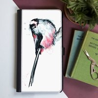 Inky Long Tailed Tit Flip Phone Case With Card Slots