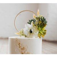 Bohemian Wedding Flower Succulent Cake Topper Hoop