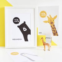New Baby, Personalised Animal A4 Prints