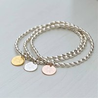 Sterling Silver Sunray Charm Bracelet, Silver