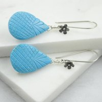 Carved Turquoise Earrings In Oxidised Silver, Silver