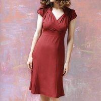 Sweetheart Neckline Forties Style Dress In Russet Crepe