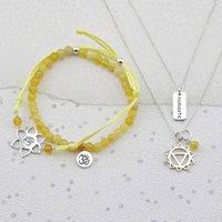 Silver Solar Plexus Chakra Jewellery Set, Silver