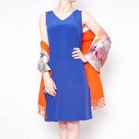Sophie Silk Dress In Cobalt Blue, Blue